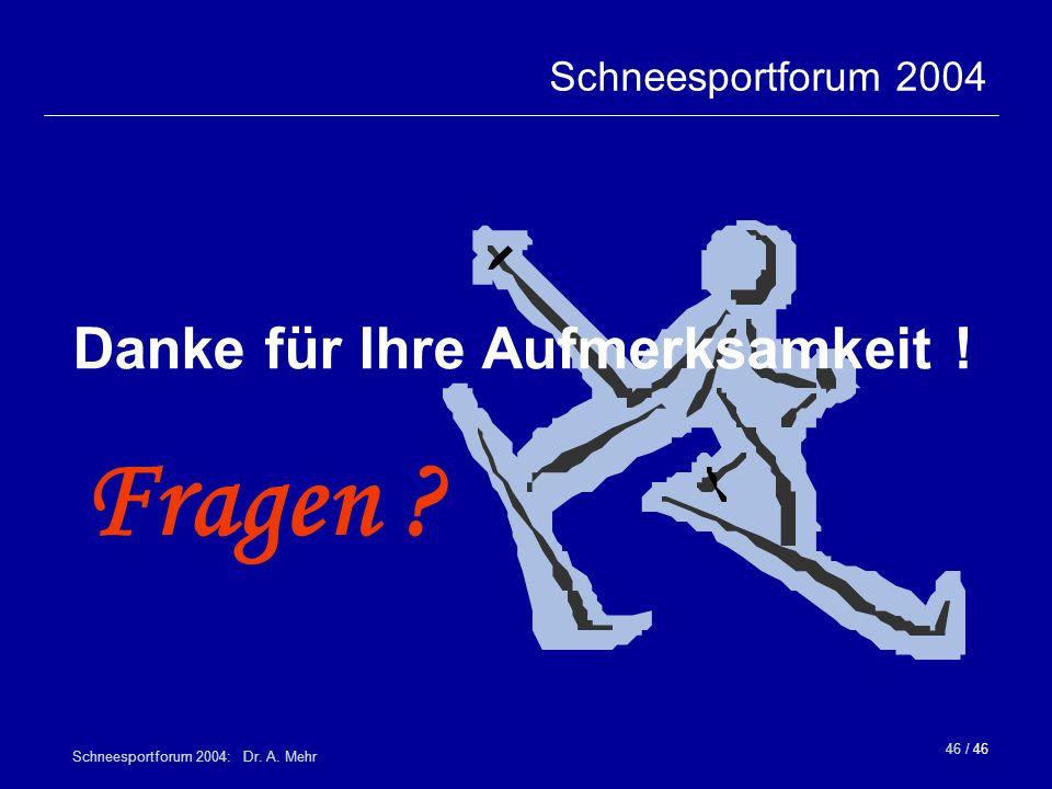 46 / 46 Schneesportforum 2004: Dr. A. Mehr Danke für Ihre Aufmerksamkeit ! Fragen ? Schneesportforum 2004