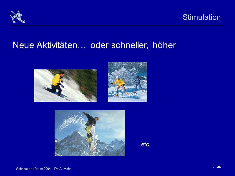 7 / 46 Schneesportforum 2004: Dr. A. Mehr Stimulation Neue Aktivitäten… oder schneller, höher etc.