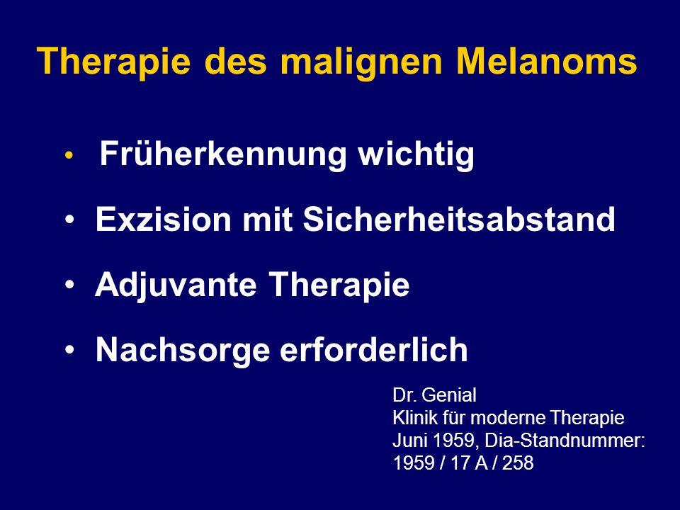 Therapie des malignen Melanoms Früherkennung wichtig Exzision mit Sicherheitsabstand Adjuvante Therapie Nachsorge erforderlich Dr.