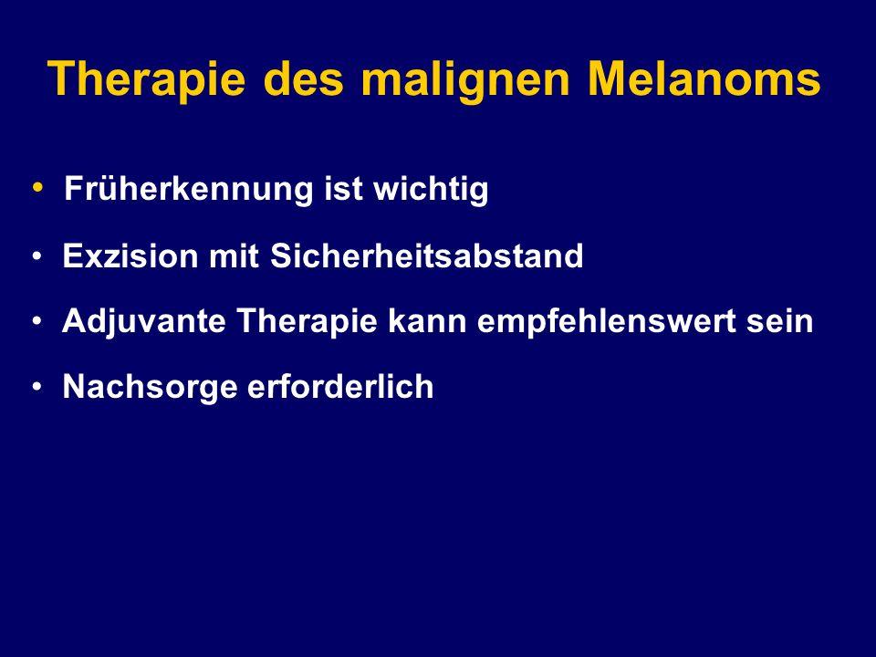 Therapie des malignen Melanoms Früherkennung ist wichtig Exzision mit Sicherheitsabstand Adjuvante Therapie kann empfehlenswert sein Nachsorge erforderlich