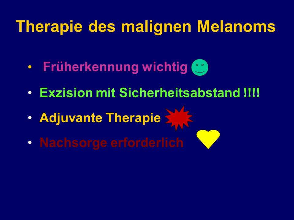 Therapie des malignen Melanoms Früherkennung wichtig Exzision mit Sicherheitsabstand !!!! Adjuvante Therapie Nachsorge erforderlich
