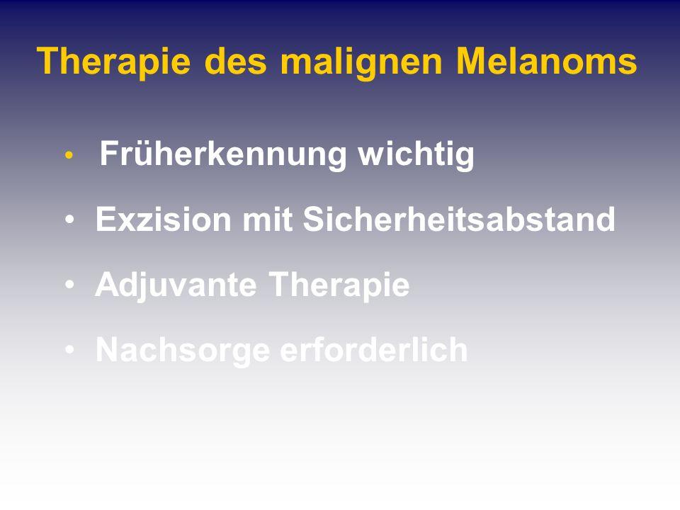 Therapie des malignen Melanoms Früherkennung wichtig Exzision mit Sicherheitsabstand Adjuvante Therapie Nachsorge erforderlich