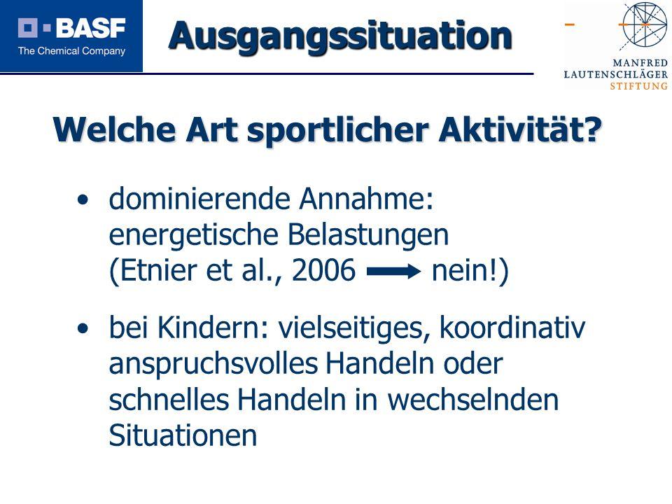 Spendenprojekt 2011 dominierende Annahme: energetische Belastungen (Etnier et al., 2006 nein!) bei Kindern: vielseitiges, koordinativ anspruchsvolles