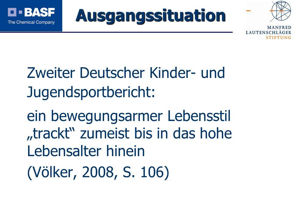 Spendenprojekt 2011 Zweiter Deutscher Kinder- und Jugendsportbericht: ein bewegungsarmer Lebensstil trackt zumeist bis in das hohe Lebensalter hinein