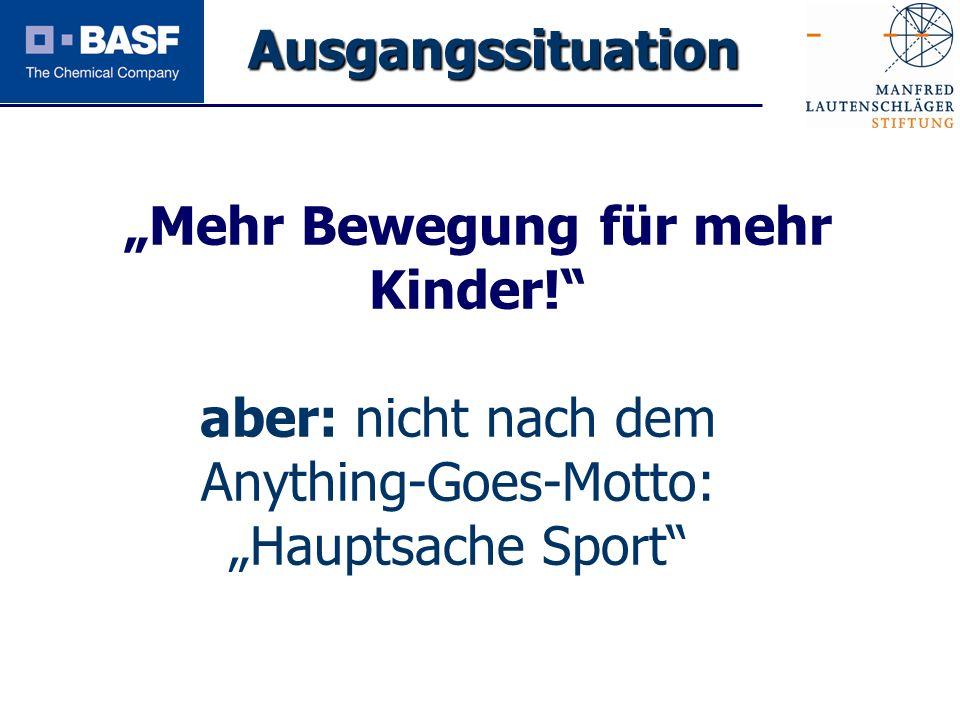 Spendenprojekt 2011 Mehr Bewegung für mehr Kinder! aber: nicht nach dem Anything-Goes-Motto: Hauptsache Sport Ausgangssituation