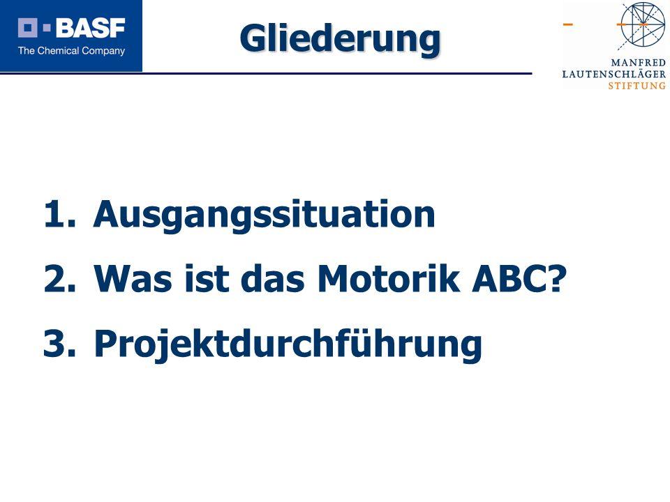 Spendenprojekt 2011 1. Ausgangssituation 2. Was ist das Motorik ABC? 3. Projektdurchführung Gliederung