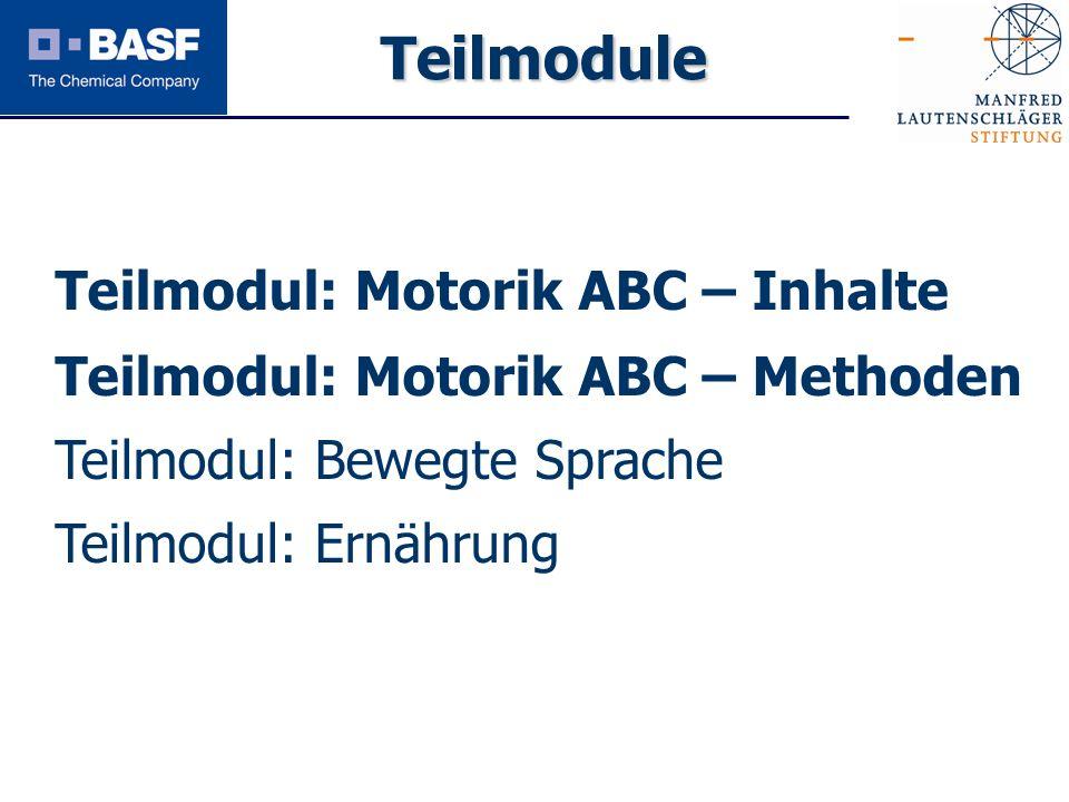 Spendenprojekt 2011 Teilmodul: Motorik ABC – Inhalte Teilmodul: Motorik ABC – Methoden Teilmodul: Bewegte Sprache Teilmodul: Ernährung Teilmodule