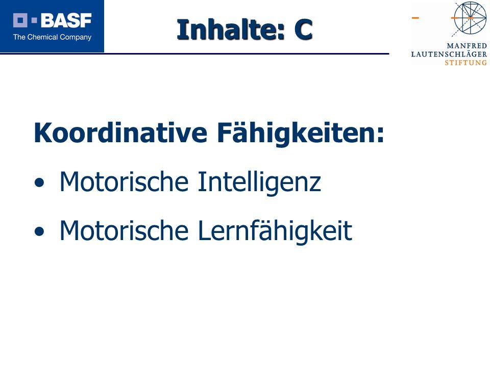 Spendenprojekt 2011 Koordinative Fähigkeiten: Motorische Intelligenz Motorische Lernfähigkeit Inhalte: C