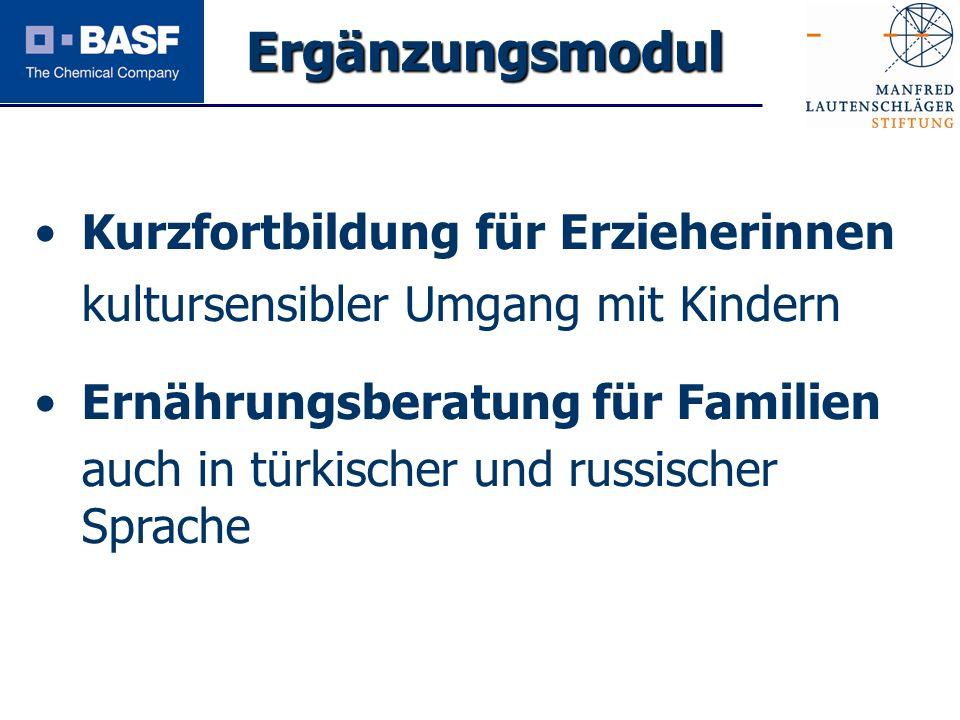 Spendenprojekt 2011 Ergänzungsmodul Kurzfortbildung für Erzieherinnen kultursensibler Umgang mit Kindern Ernährungsberatung für Familien auch in türki