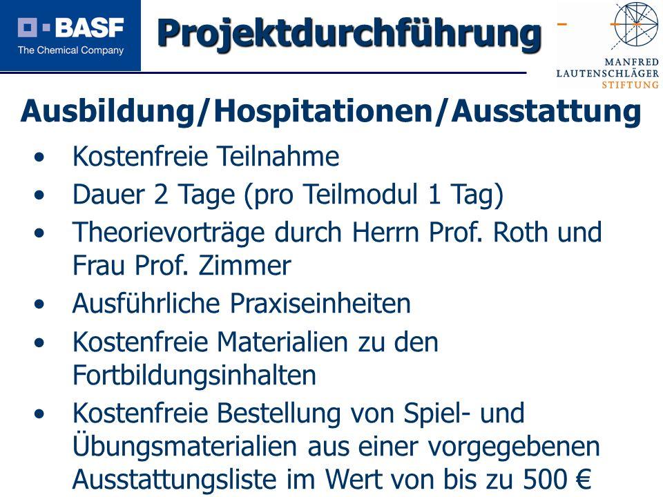 Spendenprojekt 2011 Ausbildung/Hospitationen/Ausstattung Projektdurchführung Kostenfreie Teilnahme Dauer 2 Tage (pro Teilmodul 1 Tag) Theorievorträge