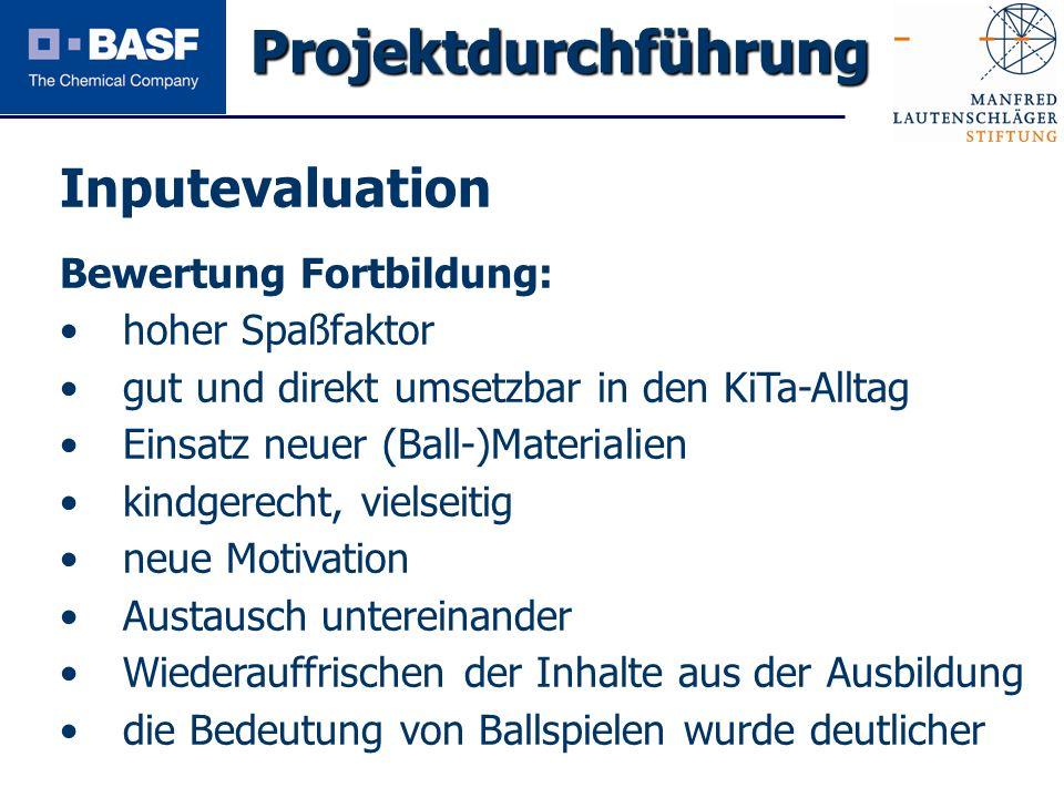 Spendenprojekt 2011 Inputevaluation Bewertung Fortbildung: hoher Spaßfaktor gut und direkt umsetzbar in den KiTa-Alltag Einsatz neuer (Ball-)Materiali