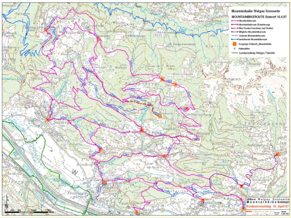 GemeindeLänge in km Bludesch8,0 Düns6,1 Dünserberg14,1 Röns3,0 Satteins17,0 Schlins5,6 Schnifis6,9 Thüringen4,8 Thüringerberg0,7 Übersaxen9,8 Gesamt 76,0