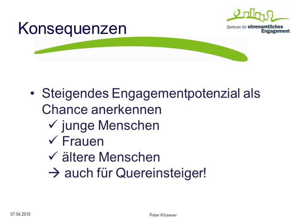 07.04.2010 Peter Klösener Konsequenzen Steigendes Engagementpotenzial als Chance anerkennen junge Menschen Frauen ältere Menschen auch für Quereinsteiger!