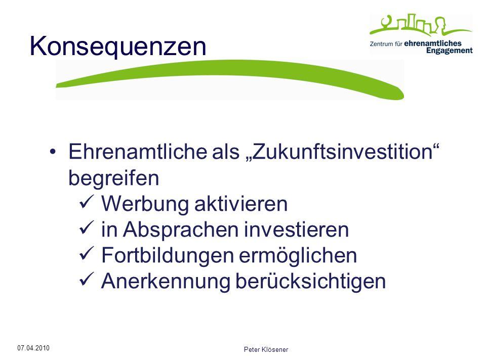 07.04.2010 Peter Klösener Konsequenzen Ehrenamtliche als Zukunftsinvestition begreifen Werbung aktivieren in Absprachen investieren Fortbildungen ermöglichen Anerkennung berücksichtigen