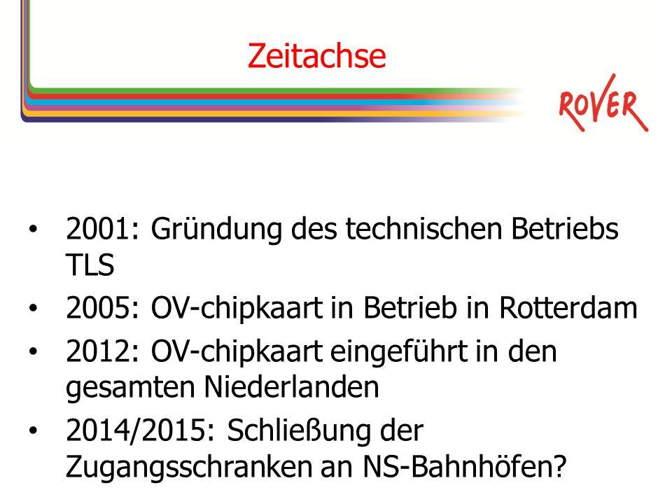 Zeitachse 2001: Gründung des technischen Betriebs TLS 2005: OV-chipkaart in Betrieb in Rotterdam 2012: OV-chipkaart eingeführt in den gesamten Niederlanden 2014/2015: Schließung der Zugangsschranken an NS-Bahnhöfen?