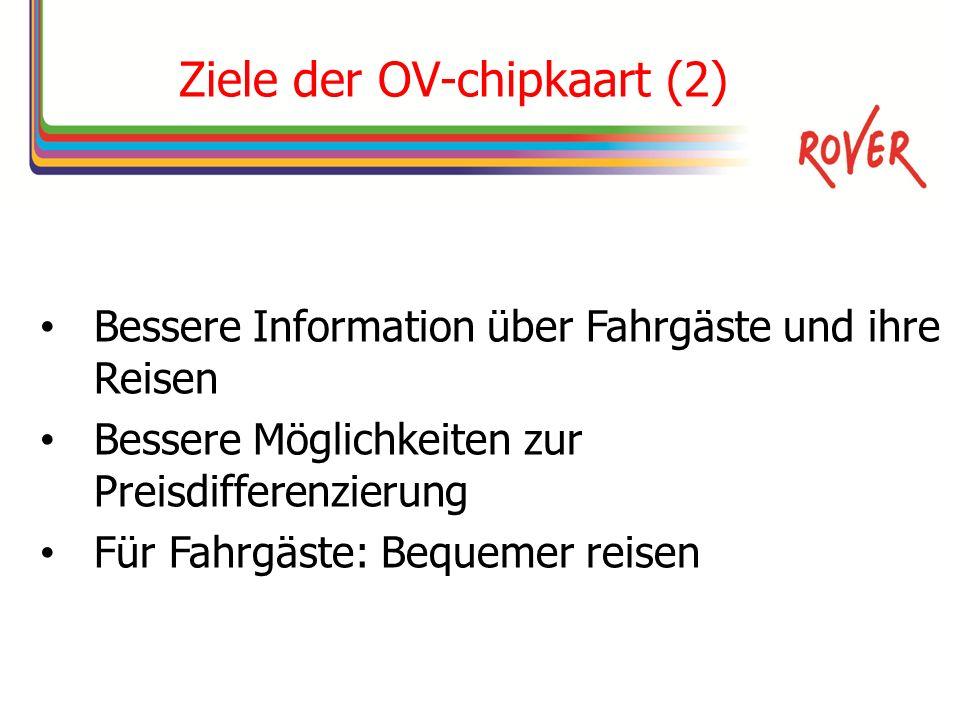 Ziele der OV-chipkaart (2) Bessere Information über Fahrgäste und ihre Reisen Bessere Möglichkeiten zur Preisdifferenzierung Für Fahrgäste: Bequemer reisen