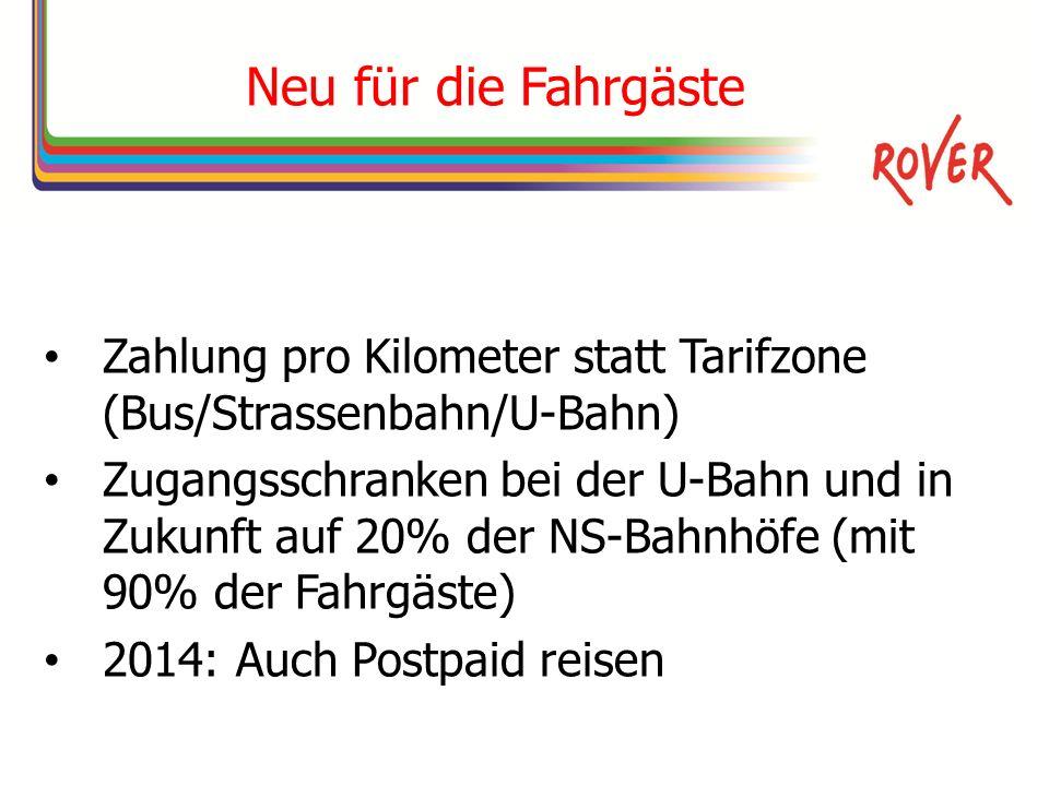 Neu für die Fahrgäste Zahlung pro Kilometer statt Tarifzone (Bus/Strassenbahn/U-Bahn) Zugangsschranken bei der U-Bahn und in Zukunft auf 20% der NS-Bahnhöfe (mit 90% der Fahrgäste) 2014: Auch Postpaid reisen