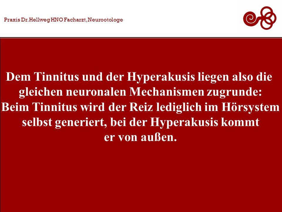 Dem Tinnitus und der Hyperakusis liegen also die gleichen neuronalen Mechanismen zugrunde: Beim Tinnitus wird der Reiz lediglich im Hörsystem selbst generiert, bei der Hyperakusis kommt er von außen.