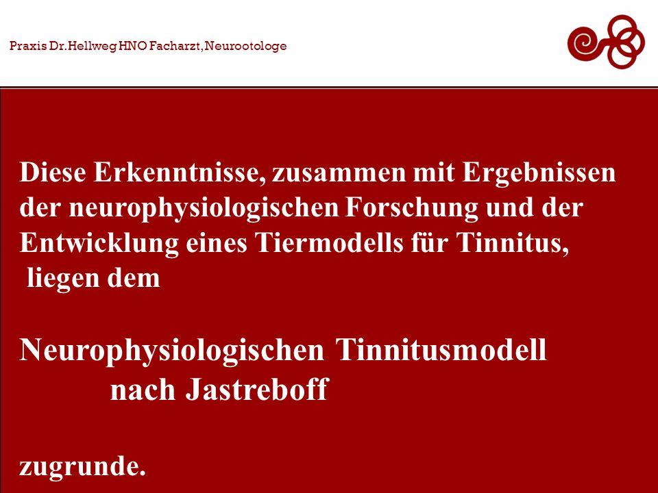 Diese Erkenntnisse, zusammen mit Ergebnissen der neurophysiologischen Forschung und der Entwicklung eines Tiermodells für Tinnitus, liegen dem Neurophysiologischen Tinnitusmodell nach Jastreboff zugrunde.