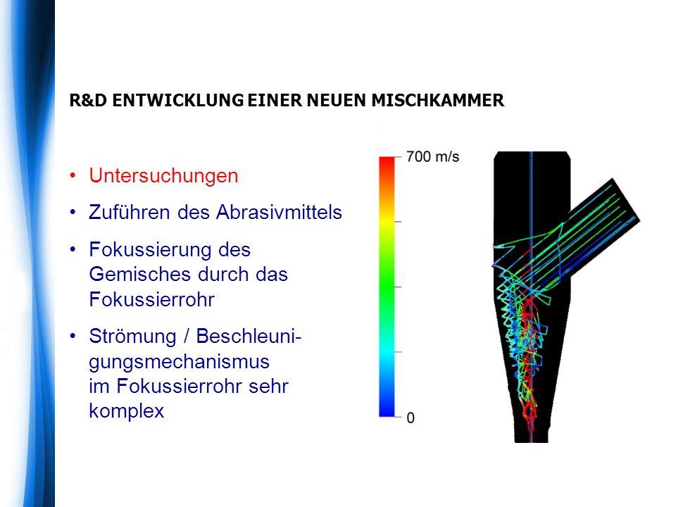 R&D ENTWICKLUNG EINER NEUEN MISCHKAMMER Untersuchungen Zuführen des Abrasivmittels Fokussierung des Gemisches durch das Fokussierrohr Strömung / Beschleuni- gungsmechanismus im Fokussierrohr sehr komplex