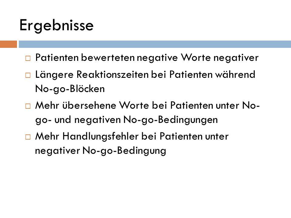 Ergebnisse Patienten bewerteten negative Worte negativer Längere Reaktionszeiten bei Patienten während No-go-Blöcken Mehr übersehene Worte bei Patient