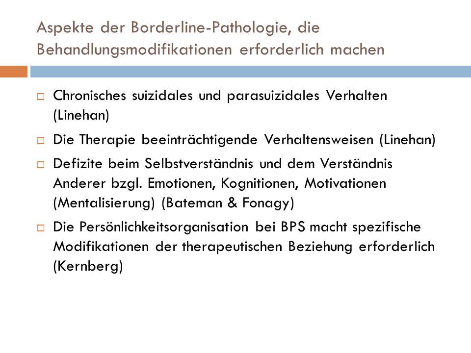 Aspekte der Borderline-Pathologie, die Behandlungsmodifikationen erforderlich machen Chronisches suizidales und parasuizidales Verhalten (Linehan) Die
