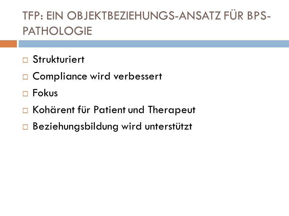 TFP: EIN OBJEKTBEZIEHUNGS-ANSATZ FÜR BPS- PATHOLOGIE Strukturiert Compliance wird verbessert Fokus Kohärent für Patient und Therapeut Beziehungsbildun
