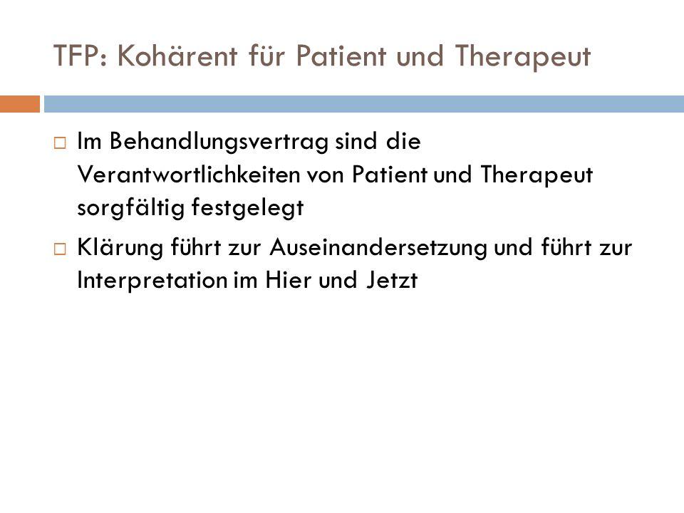 TFP: Kohärent für Patient und Therapeut Im Behandlungsvertrag sind die Verantwortlichkeiten von Patient und Therapeut sorgfältig festgelegt Klärung fü