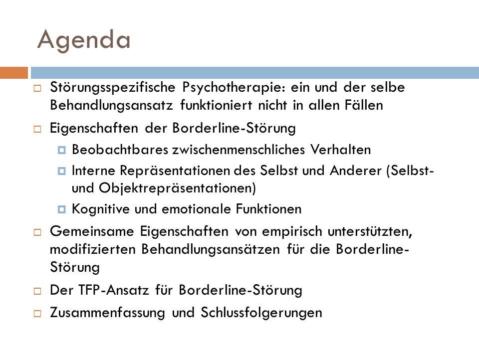 Behandlungsmodifikationen für BPS (Bordeline-Persönlichkeitsstörung Sowohl kognitive Verhaltens- als auch psychodynamische Therapeuten erkennen den Bedarf zur Modifikation der Behandlung von Borderline-Störungen DBT ist eine spezifische kognitive Verhaltensbehandlung für Borderline-Störungen; wirksam im Vergleich zu TAU (Treatment as usual: übliche Standardbehandlung) (Linehan, et al, 1991) Mentalisierungsbasierte Behandlung (Mentalization Based Treatment: MBT) und übertragungsfokussierte Psychotherapie (Transference Focused Psychotherapy: TFP) sind Modifikationen von psychodynamischen BPS-Behandlungen; als wirksam erweisen sich beide (Bateman & Fonagy, 1999; Clarkin et al, 2007)