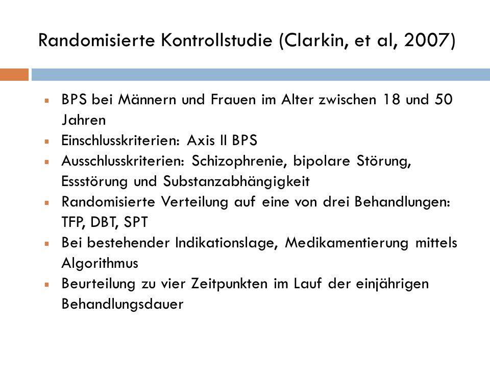 Randomisierte Kontrollstudie (Clarkin, et al, 2007) BPS bei Männern und Frauen im Alter zwischen 18 und 50 Jahren Einschlusskriterien: Axis II BPS Aus