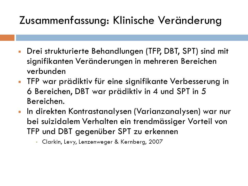 Zusammenfassung: Klinische Veränderung Drei strukturierte Behandlungen (TFP, DBT, SPT) sind mit signifikanten Veränderungen in mehreren Bereichen verb