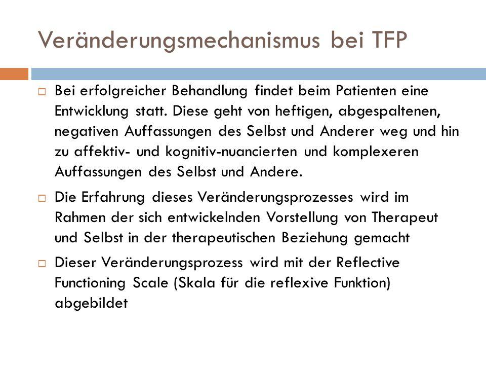Veränderungsmechanismus bei TFP Bei erfolgreicher Behandlung findet beim Patienten eine Entwicklung statt. Diese geht von heftigen, abgespaltenen, neg
