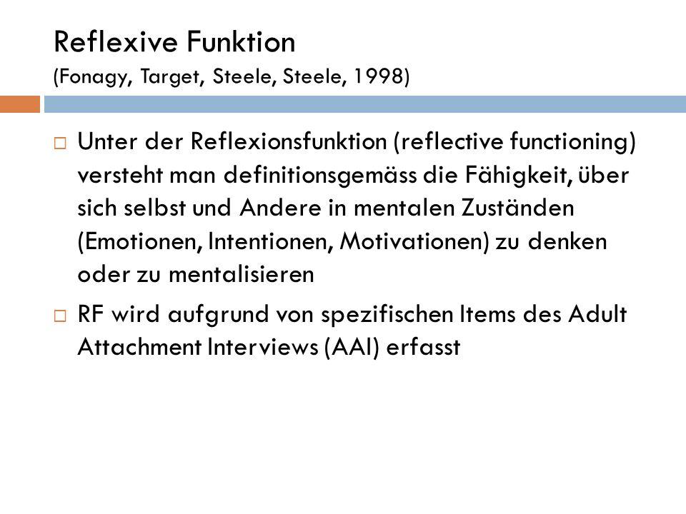 Reflexive Funktion (Fonagy, Target, Steele, Steele, 1998) Unter der Reflexionsfunktion (reflective functioning) versteht man definitionsgemäss die Fäh