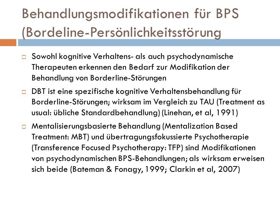 Drei für BPS modifizierte Behandlungen DBTMBTTFP StrukturiertVertrag Verbesserung der Comliance BestätigungBemühung, Wahrnehmungen des Patienten zu verstehen Eruieren von Einwänden gegen Vertrag; bei Nichterscheinen nachfragen Klarer ZielpunktFähigkeitenMentalisierungIntegration von Selbst– Objekt Repräsentationen Kohärent für Patient und Therapeut Erklärung des zugrunde liegenden Prinzips der Behandlung Verantwortlichkeiten vertraglich festgelegt Förderung der Beziehungsbildung BestätigungFokus auf Verstehen von Störungen 2 Sitzungen pro Woche