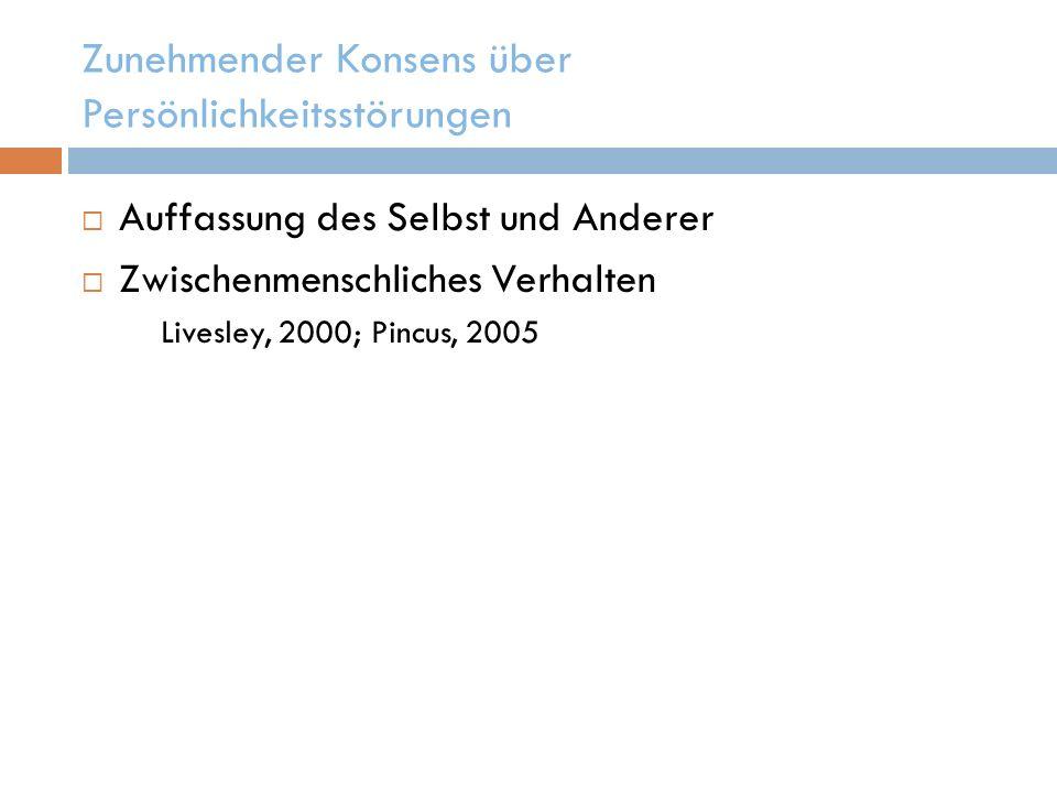 Schlüsselkonstrukte in Modellen für Persönlichkeitsstörung (Lenzenweger & Clarkin, 2005) Beeinträchtigte innere Arbeitsmodelle (Bowlby, 1979) Maladaptive Schemata (Beck et al., 2004) Eingeschränkte und inkohärente Konzepte über das Selbst und Andere (Identitätsdiffusion) (Kernberg & Caligor, 2005) Gestörte Bindung (Meyer & Pilkonis, 2005) führt zu gestörten kognitiv-affektiven Motivationsmustern (Selbst- und Objektrepräsentanzen, Ziele und Strategien zur Verfolgung derselben) Auffassungen des Selbst in Beziehungen werden aus der Vergangenheit übernommen (Benjamin, 2005)