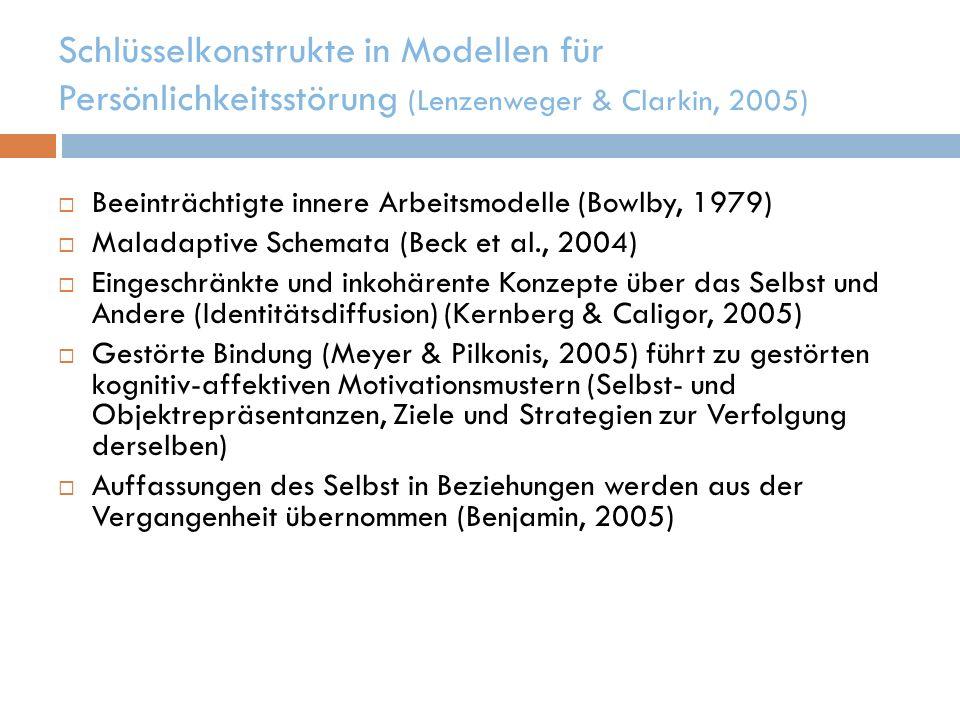 Schlüsselkonstrukte in Modellen für Persönlichkeitsstörung (Lenzenweger & Clarkin, 2005) Beeinträchtigte innere Arbeitsmodelle (Bowlby, 1979) Maladapt