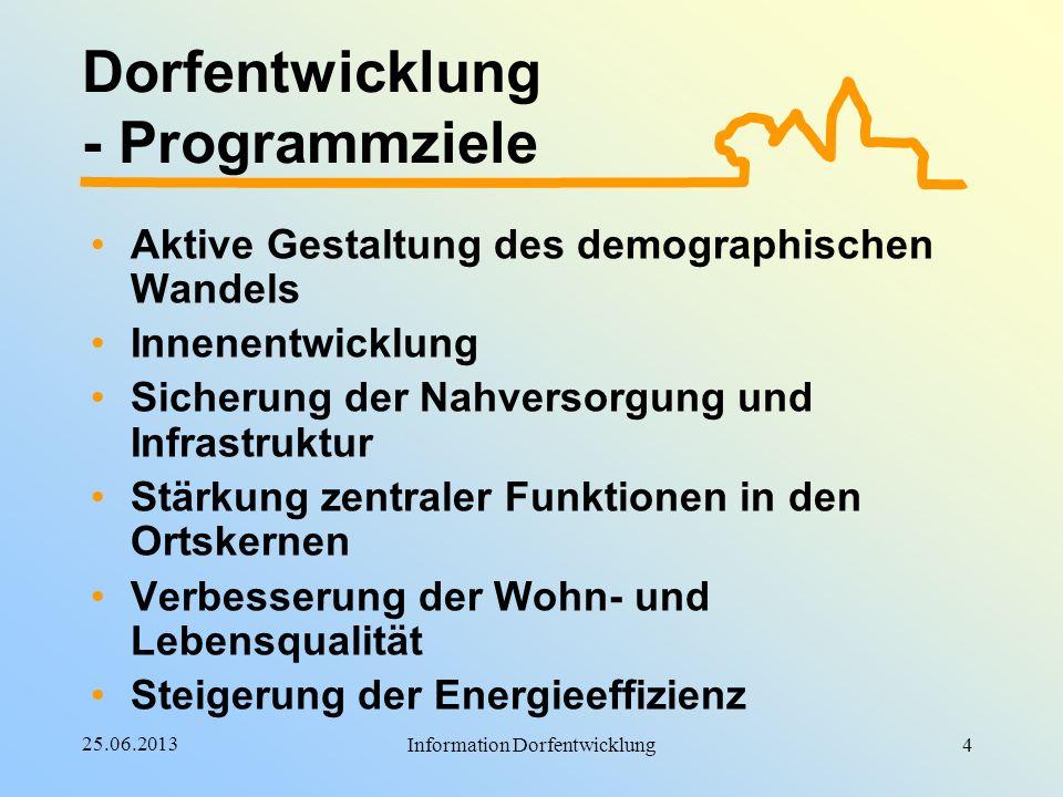 25.06.2013 Information Dorfentwicklung Dorfentwicklung - Programmziele Aktive Gestaltung des demographischen Wandels Innenentwicklung Sicherung der Na