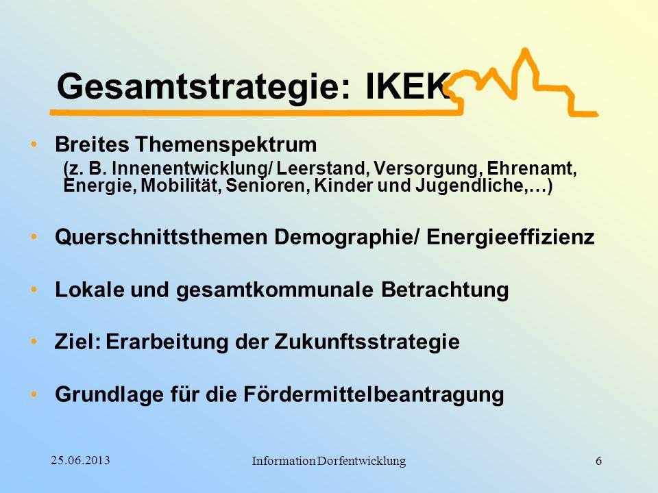 25.06.2013 Information Dorfentwicklung Gesamtstrategie: IKEK Breites Themenspektrum (z. B. Innenentwicklung/ Leerstand, Versorgung, Ehrenamt, Energie,