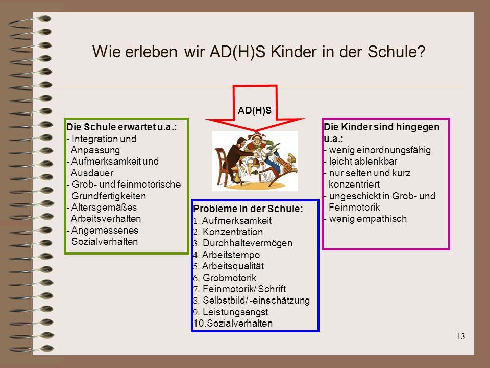 13 Wie erleben wir AD(H)S Kinder in der Schule? AD(H)S Die Schule erwartet u.a.: - Integration und Anpassung - Aufmerksamkeit und Ausdauer - Grob- und