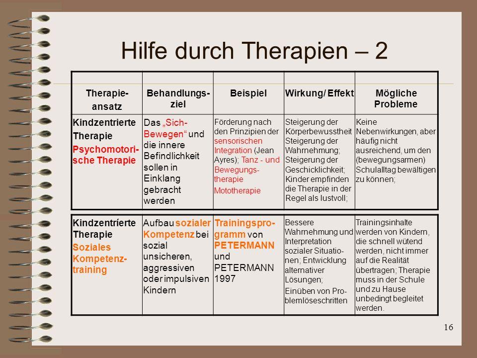 16 Hilfe durch Therapien – 2 Therapie- ansatz Behandlungs- ziel BeispielWirkung/ EffektMögliche Probleme Kindzentrierte Therapie Psychomotori- sche Th