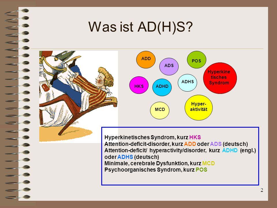 2 Was ist AD(H)S? HKS ADD ADS ADHD ADHS MCD POS Hyper- aktivität Hyperkine tisches Syndrom Hyperkinetisches Syndrom, kurz HKS Attention-deficit-disord
