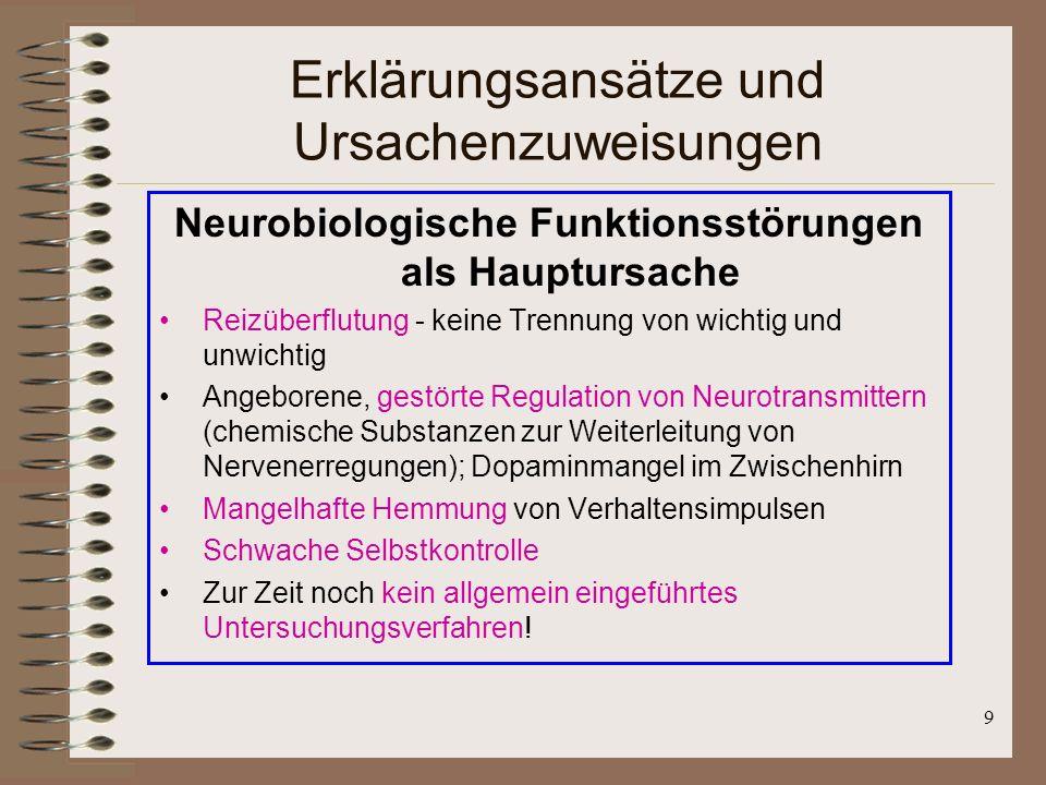 9 Erklärungsansätze und Ursachenzuweisungen Neurobiologische Funktionsstörungen als Hauptursache Reizüberflutung - keine Trennung von wichtig und unwi
