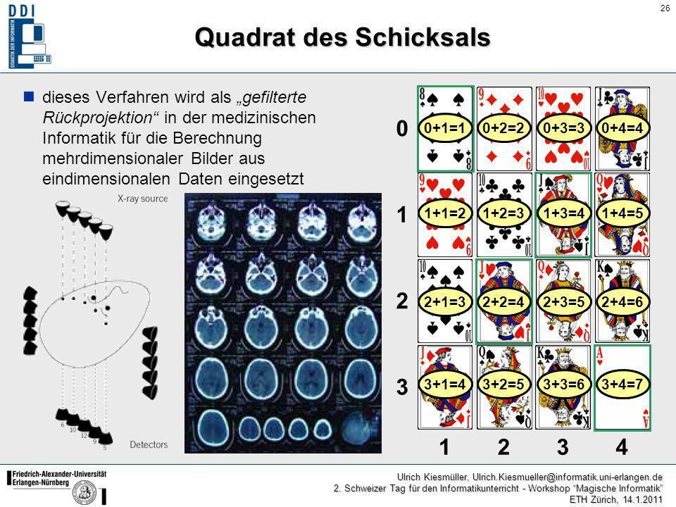 26 Ulrich Kiesmüller, Ulrich.Kiesmueller@informatik.uni-erlangen.de 2. Schweizer Tag für den Informatikunterricht - Workshop Magische Informatik ETH Z