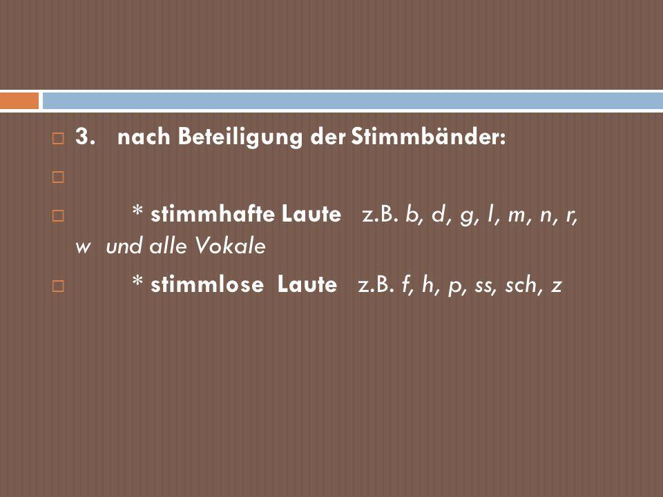 3. nach Beteiligung der Stimmbänder: * stimmhafte Laute z.B. b, d, g, l, m, n, r, w und alle Vokale * stimmlose Laute z.B. f, h, p, ss, sch, z