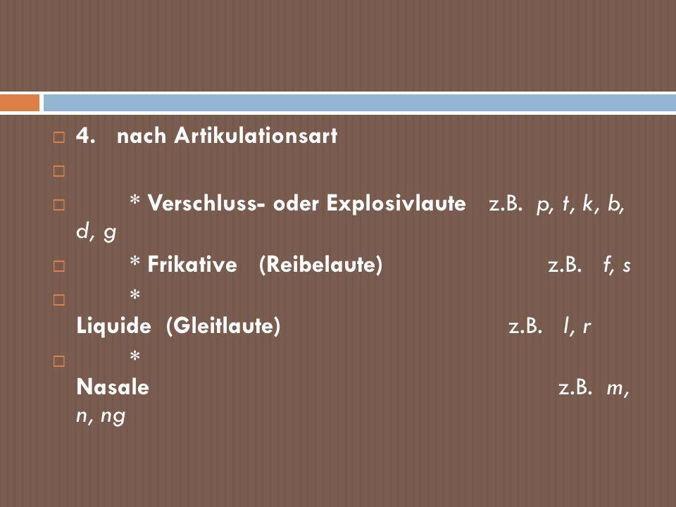 4. nach Artikulationsart * Verschluss- oder Explosivlaute z.B. p, t, k, b, d, g * Frikative (Reibelaute) z.B. f, s * Liquide (Gleitlaute) z.B. l, r *