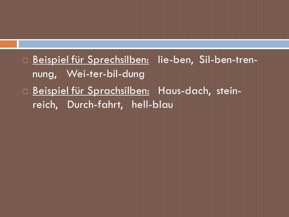 Beispiel für Sprechsilben: lie-ben, Sil-ben-tren- nung, Wei-ter-bil-dung Beispiel für Sprachsilben: Haus-dach, stein- reich, Durch-fahrt, hell-blau