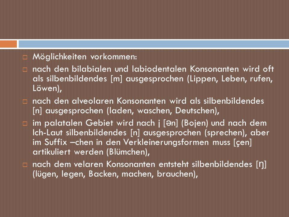 Möglichkeiten vorkommen: nach den bilabialen und labiodentalen Konsonanten wird oft als silbenbildendes [m] ausgesprochen (Lippen, Leben, rufen, Löwen