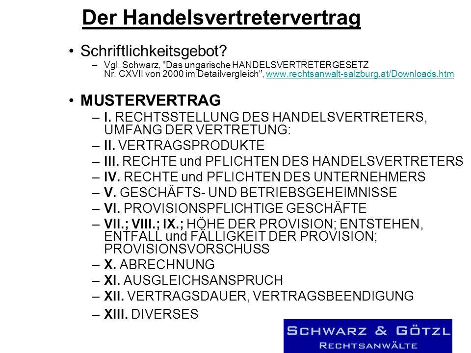 Der Handelsvertretervertrag Schriftlichkeitsgebot.