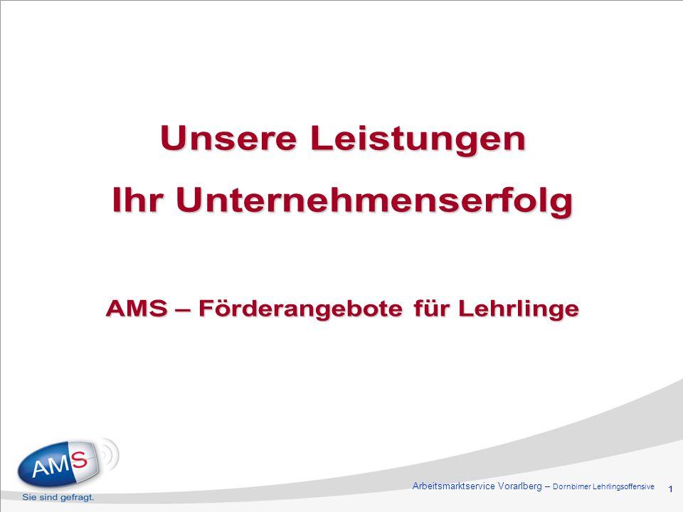 1 Unsere Leistungen Ihr Unternehmenserfolg AMS – Förderangebote für Lehrlinge Arbeitsmarktservice Vorarlberg – Dornbirner Lehrlingsoffensive