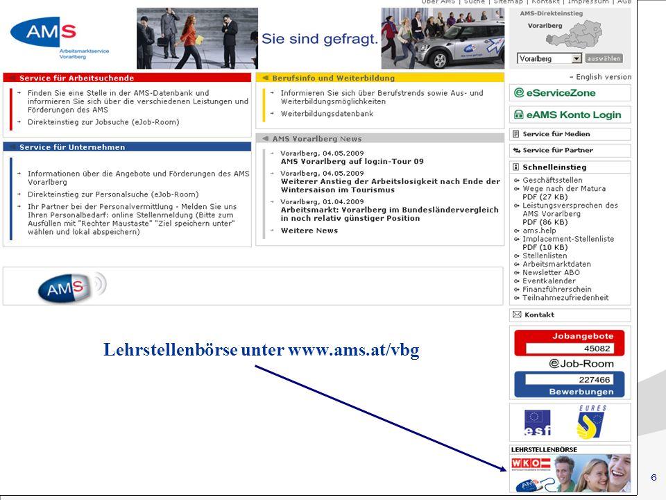6 Eingliederungsbeihilfe (EB) Lehrstellenbörse unter www.ams.at/vbg